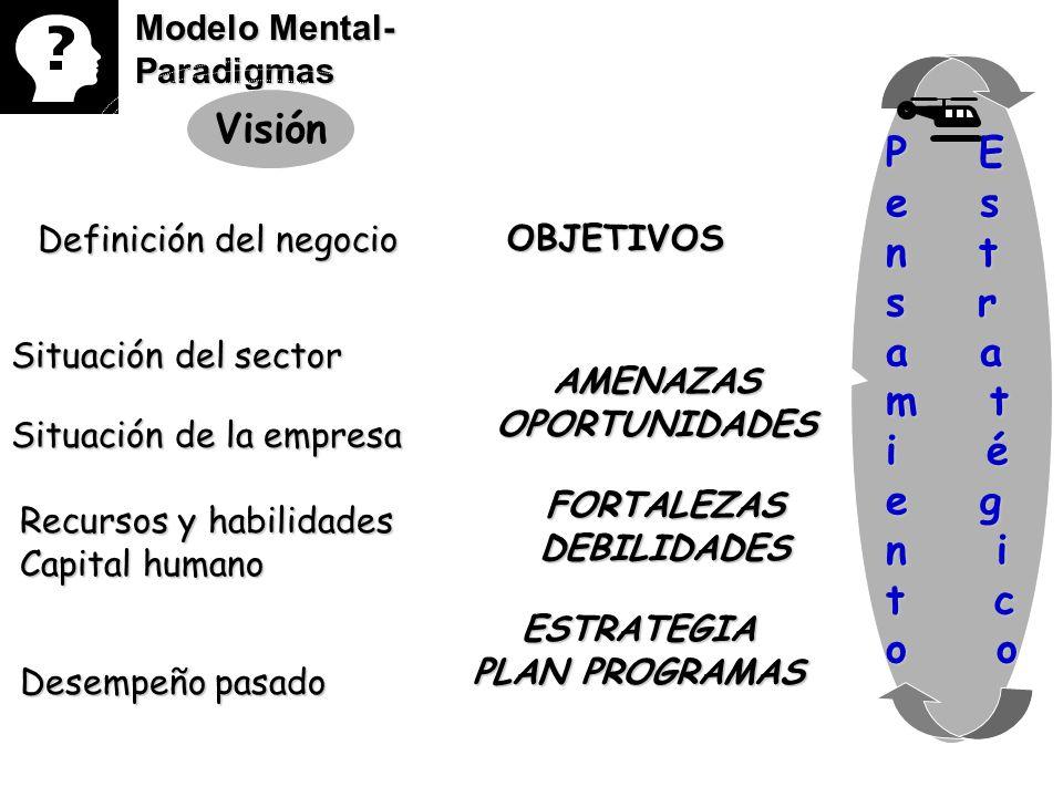 Modelo Mental- Paradigmas Visión Definición del negocio Situación del sector Situación de la empresa Recursos y habilidades Capital humano Desempeño p