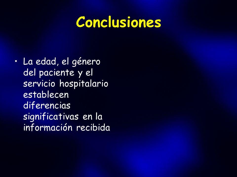 Conclusiones La edad, el género del paciente y el servicio hospitalario establecen diferencias significativas en la información recibida
