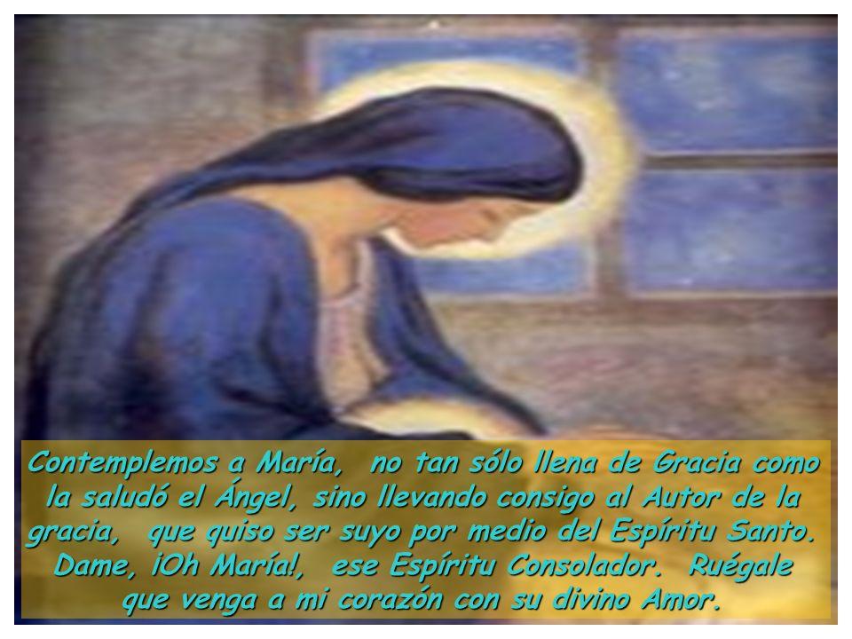 Meditemos, pues, en ese Fruto precioso, no sólo de María, ¡sino en María! El Espíritu Santo, que no se apartó un momento del alma de Jesús, inspiraba