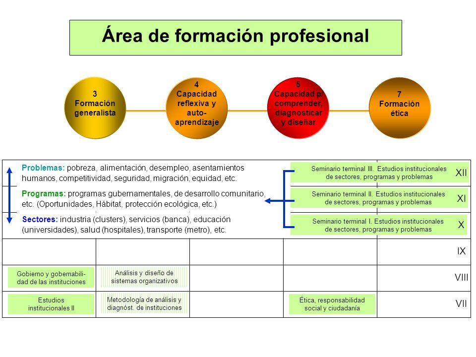 Estudios institucionales II Ética, responsabilidad social y ciudadanía Gobierno y gobernabili- dad de las instituciones Metodología de análisis y diag