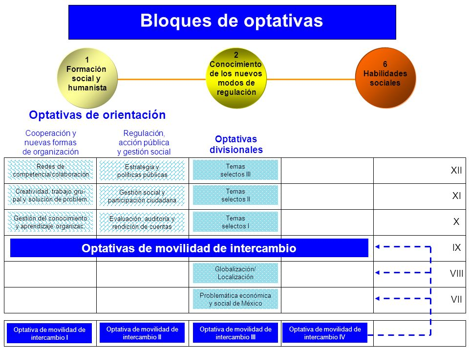 Bloques de optativas Problemática económica y social de México Globalización/ Localización Temas selectos I Temas selectos II Temas selectos III Optat