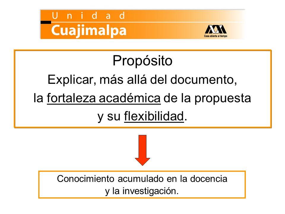 Propósito Explicar, más allá del documento, la fortaleza académica de la propuesta y su flexibilidad. Conocimiento acumulado en la docencia y la inves