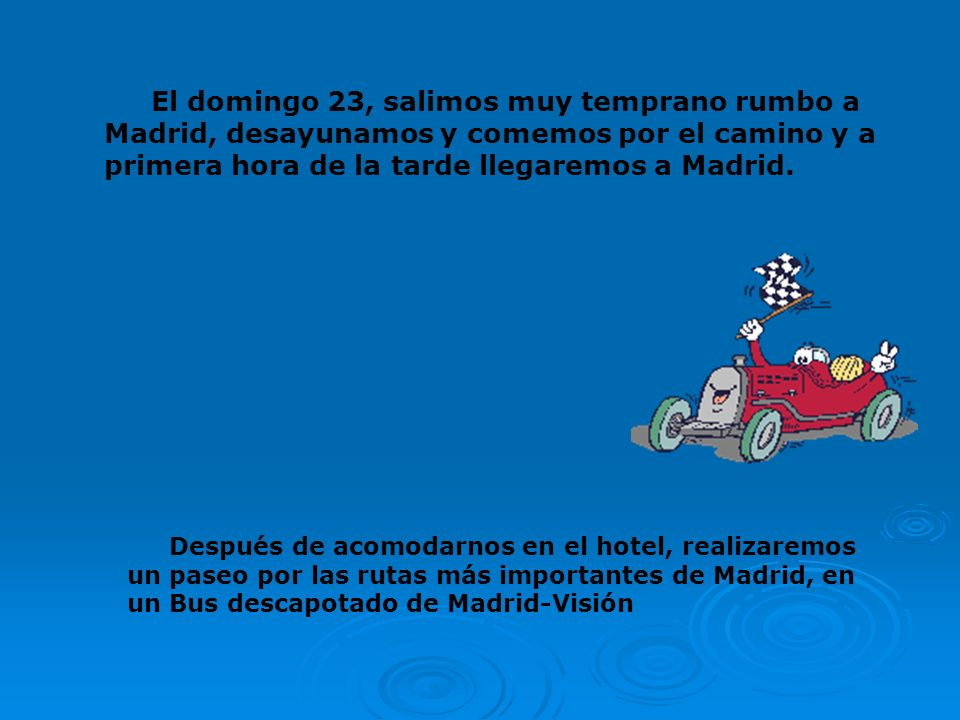 Del día 23 al 28 de mayo de 2010, los alumnos/as de 6º del Colegio, tenemos nuestro Viaje de Estudios a Madrid y alrededores Os vamos a contar el itin