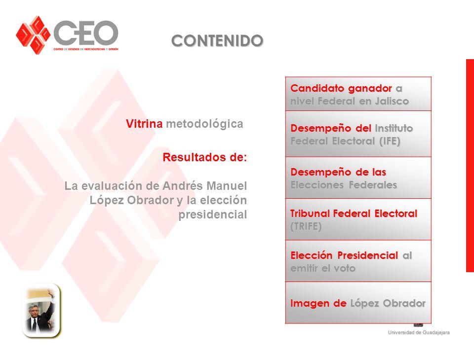 Vitrina metodológica Resultados de: La evaluación de Andrés Manuel López Obrador y la elección presidencial CONTENIDO Candidato ganador a nivel Federa