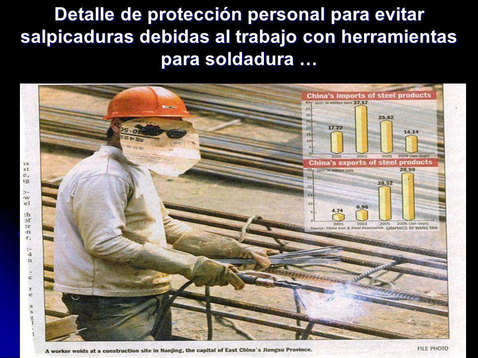 Detalle de protección personal para evitar salpicaduras debidas al trabajo con herramientas para soldadura …