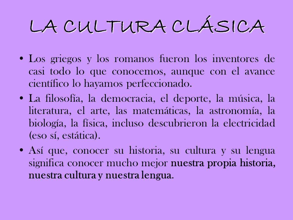 LA ASIGNATURA A continuación os resumimos brevemente el contenido que tiene la materia de Cultura Clásica en 3º y en 4º de ESO, una asignatura que pretende buscar nuestras raíces en los orígenes de la civilización occidental.