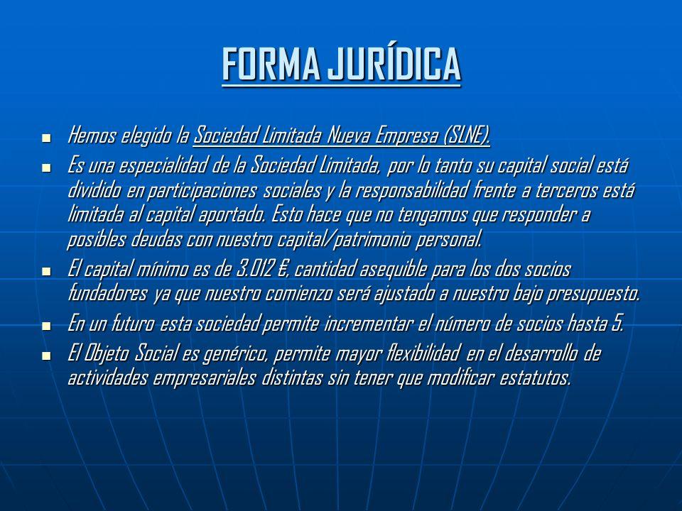 FORMA JURÍDICA Hemos elegido la Sociedad Limitada Nueva Empresa (SLNE).