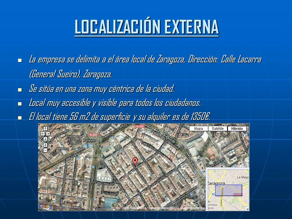 LOCALIZACIÓN EXTERNA La empresa se delimita a el área local de Zaragoza, Dirección: Calle Lacarra (General Sueiro), Zaragoza.