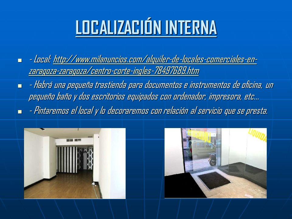 LOCALIZACIÓN INTERNA - Local: http://www.milanuncios.com/alquiler-de-locales-comerciales-en- zaragoza-zaragoza/centro-corte-ingles-78497689.htm - Local: http://www.milanuncios.com/alquiler-de-locales-comerciales-en- zaragoza-zaragoza/centro-corte-ingles-78497689.htmhttp://www.milanuncios.com/alquiler-de-locales-comerciales-en- zaragoza-zaragoza/centro-corte-ingles-78497689.htmhttp://www.milanuncios.com/alquiler-de-locales-comerciales-en- zaragoza-zaragoza/centro-corte-ingles-78497689.htm - Habrá una pequeña trastienda para documentos e instrumentos de oficina, un pequeño baño y dos escritorios equipados con ordenador, impresora, etc...