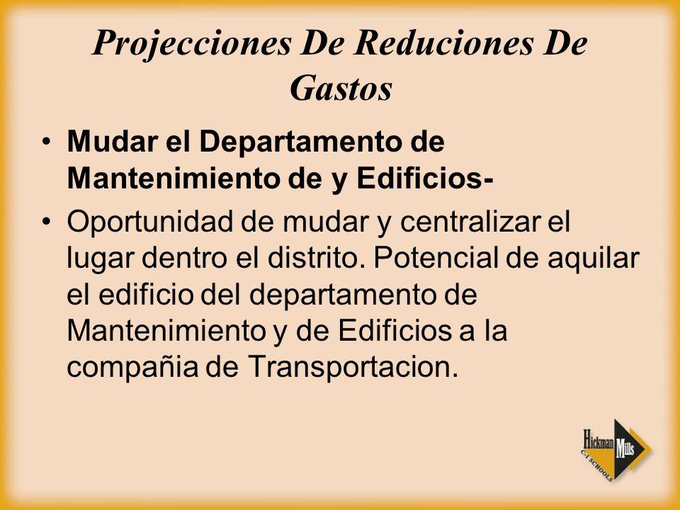 Projecciones De Reduciones De Gastos Mudar el Departamento de Mantenimiento de y Edificios- Oportunidad de mudar y centralizar el lugar dentro el distrito.