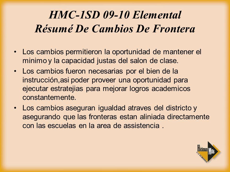 HMC-1SD 09-10 Elemental Résumé De Cambios De Frontera Los cambios permitieron la oportunidad de mantener el minimo y la capacidad justas del salon de clase.