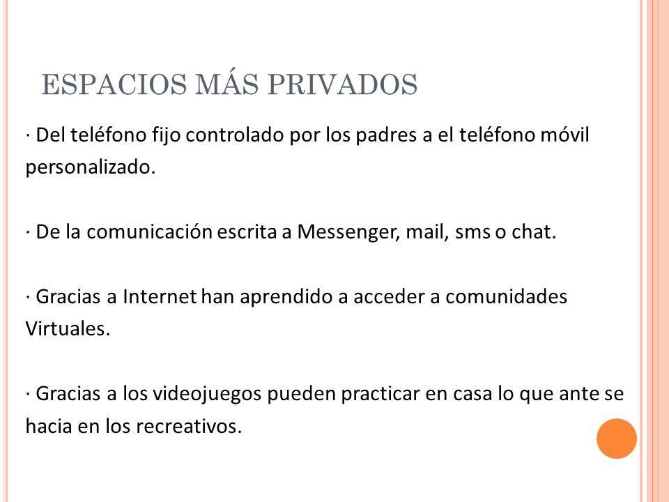 ESPACIOS MÁS PRIVADOS · Del teléfono fijo controlado por los padres a el teléfono móvil personalizado.