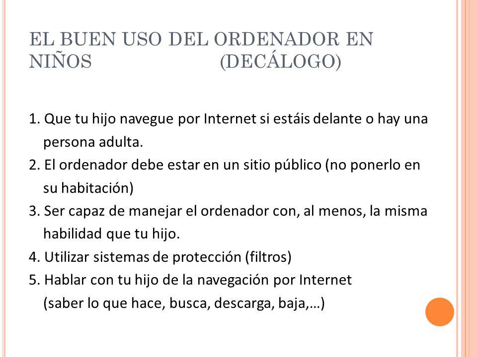 EL BUEN USO DEL ORDENADOR EN NIÑOS (DECÁLOGO) 1.