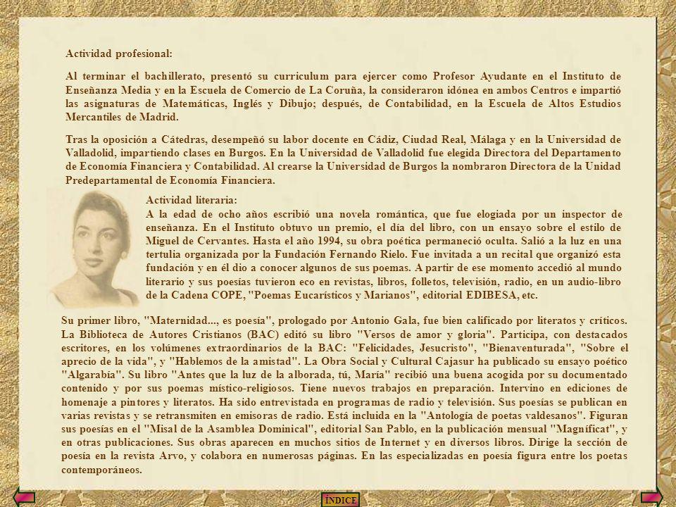 ÍNDICE CURRICULUM VITAE DE EMMA-MARGARITA R. A.-VALDÉS Lugar de nacimiento y estudios: Nació en Luarca (Asturias), España. Con tres años de edad fue a