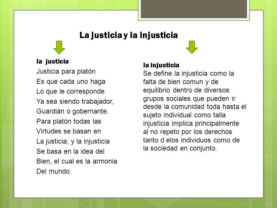 La justicia y la injusticia la justicia Justicia para platón Es que cada uno haga Lo que le corresponde Ya sea siendo trabajador, Guardián o gobernante.