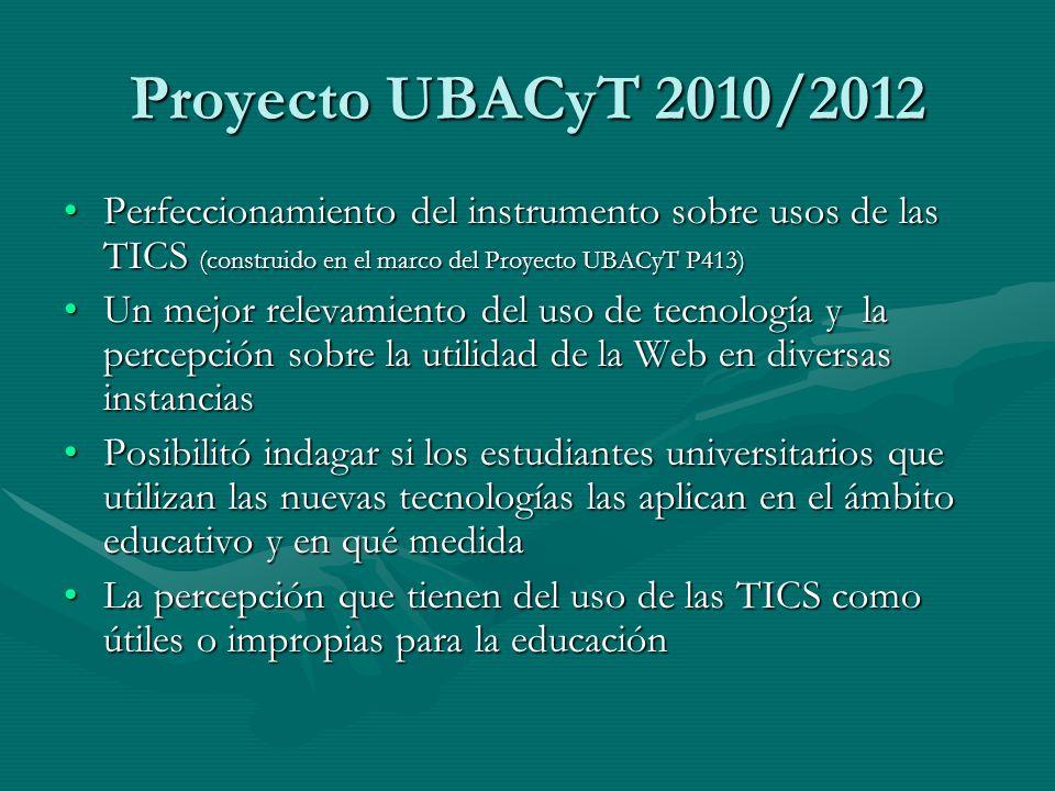 Proyecto UBACyT 2010/2012 Perfeccionamiento del instrumento sobre usos de las TICS (construido en el marco del Proyecto UBACyT P413)Perfeccionamiento del instrumento sobre usos de las TICS (construido en el marco del Proyecto UBACyT P413) Un mejor relevamiento del uso de tecnología y la percepción sobre la utilidad de la Web en diversas instanciasUn mejor relevamiento del uso de tecnología y la percepción sobre la utilidad de la Web en diversas instancias Posibilitó indagar si los estudiantes universitarios que utilizan las nuevas tecnologías las aplican en el ámbito educativo y en qué medidaPosibilitó indagar si los estudiantes universitarios que utilizan las nuevas tecnologías las aplican en el ámbito educativo y en qué medida La percepción que tienen del uso de las TICS como útiles o impropias para la educaciónLa percepción que tienen del uso de las TICS como útiles o impropias para la educación