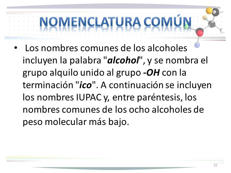 Los nombres comunes de los alcoholes incluyen la palabra alcohol , y se nombra el grupo alquilo unido al grupo -OH con la terminación ico .