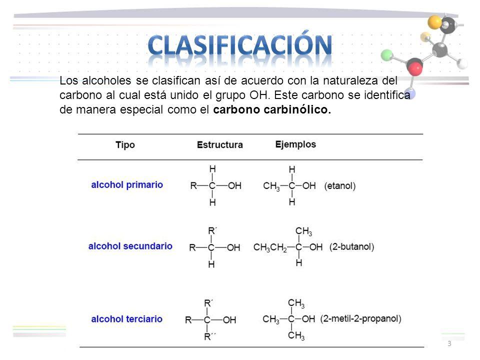3 Los alcoholes se clasifican así de acuerdo con la naturaleza del carbono al cual está unido el grupo OH. Este carbono se identifica de manera especi