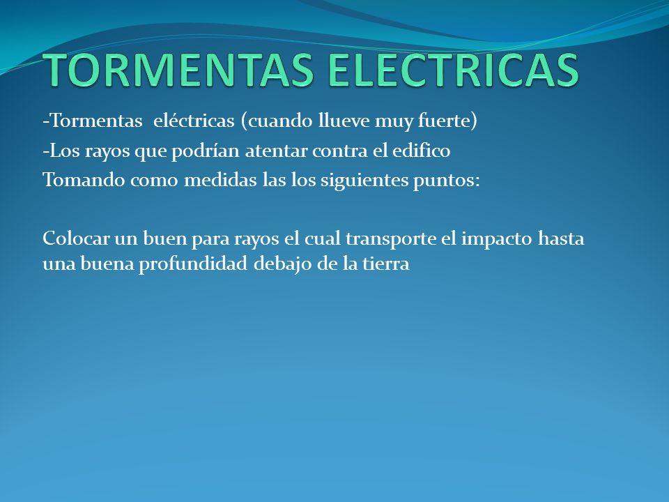 -Tormentas eléctricas (cuando llueve muy fuerte) -Los rayos que podrían atentar contra el edifico Tomando como medidas las los siguientes puntos: Colo