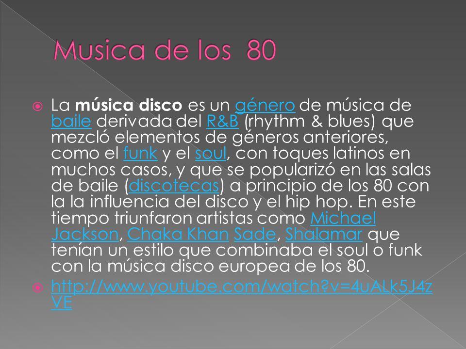 La música disco es un género de música de baile derivada del R&B (rhythm & blues) que mezcló elementos de géneros anteriores, como el funk y el soul, con toques latinos en muchos casos, y que se popularizó en las salas de baile (discotecas) a principio de los 80 con la la influencia del disco y el hip hop.
