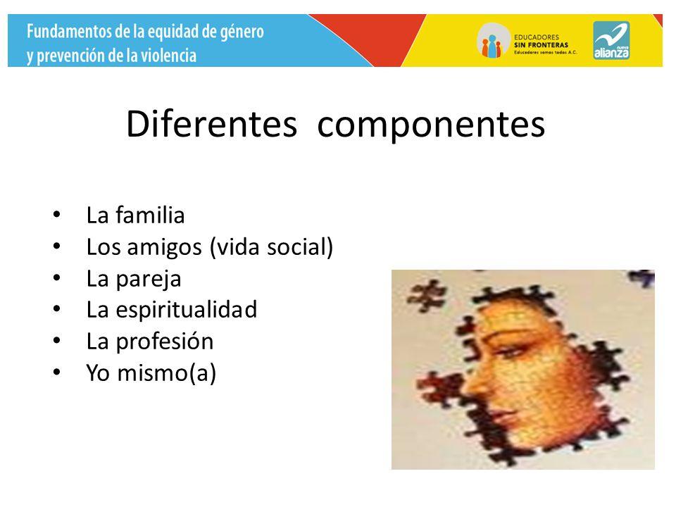 Diferentes componentes La familia Los amigos (vida social) La pareja La espiritualidad La profesión Yo mismo(a)