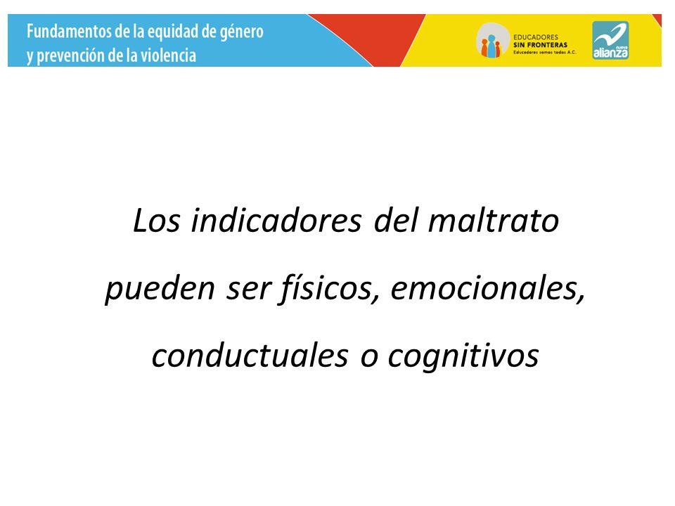 Los indicadores del maltrato pueden ser físicos, emocionales, conductuales o cognitivos