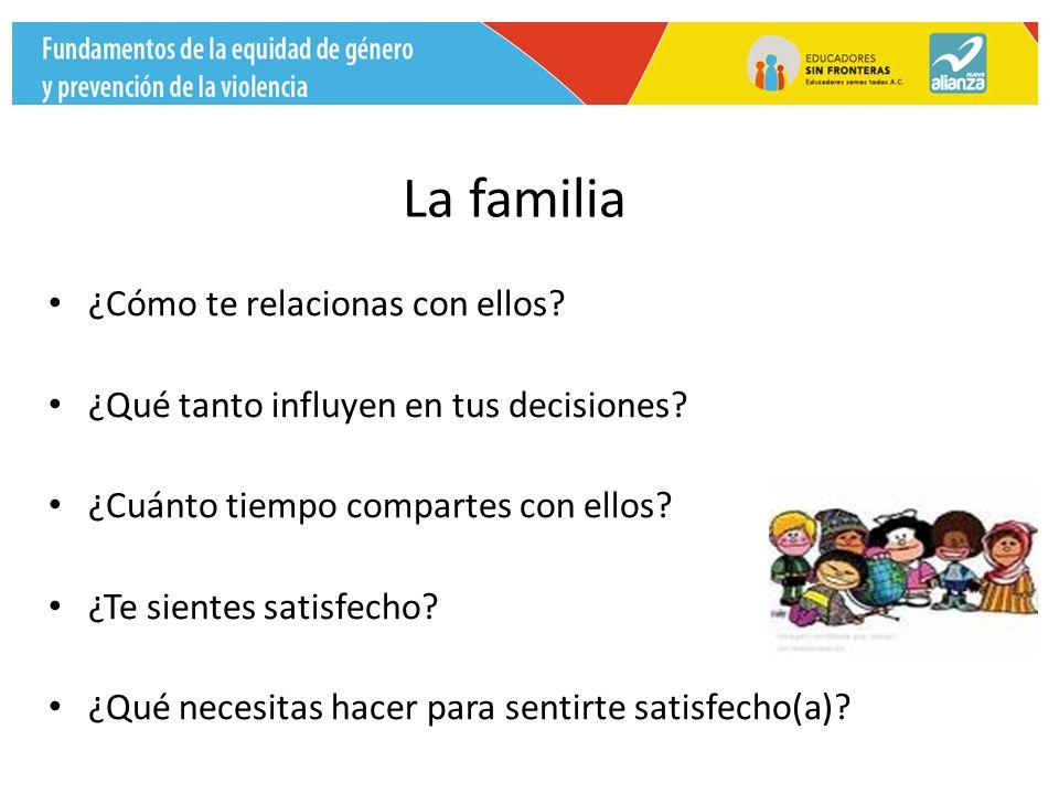 La familia ¿Cómo te relacionas con ellos. ¿Qué tanto influyen en tus decisiones.