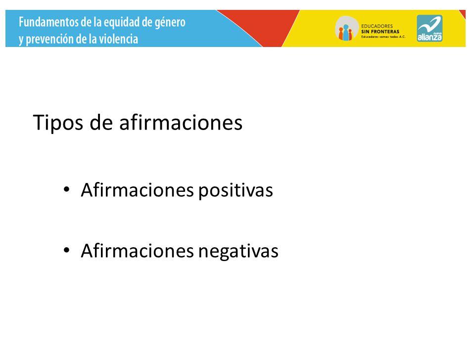 Tipos de afirmaciones Afirmaciones positivas Afirmaciones negativas