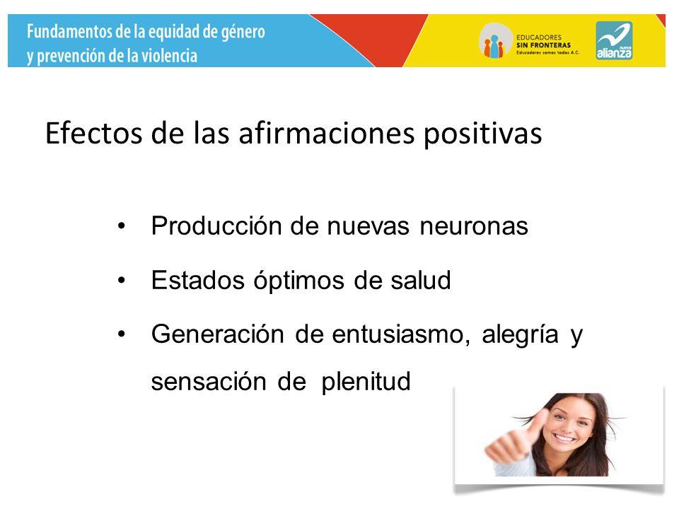 Producción de nuevas neuronas Estados óptimos de salud Generación de entusiasmo, alegría y sensación de plenitud Efectos de las afirmaciones positivas
