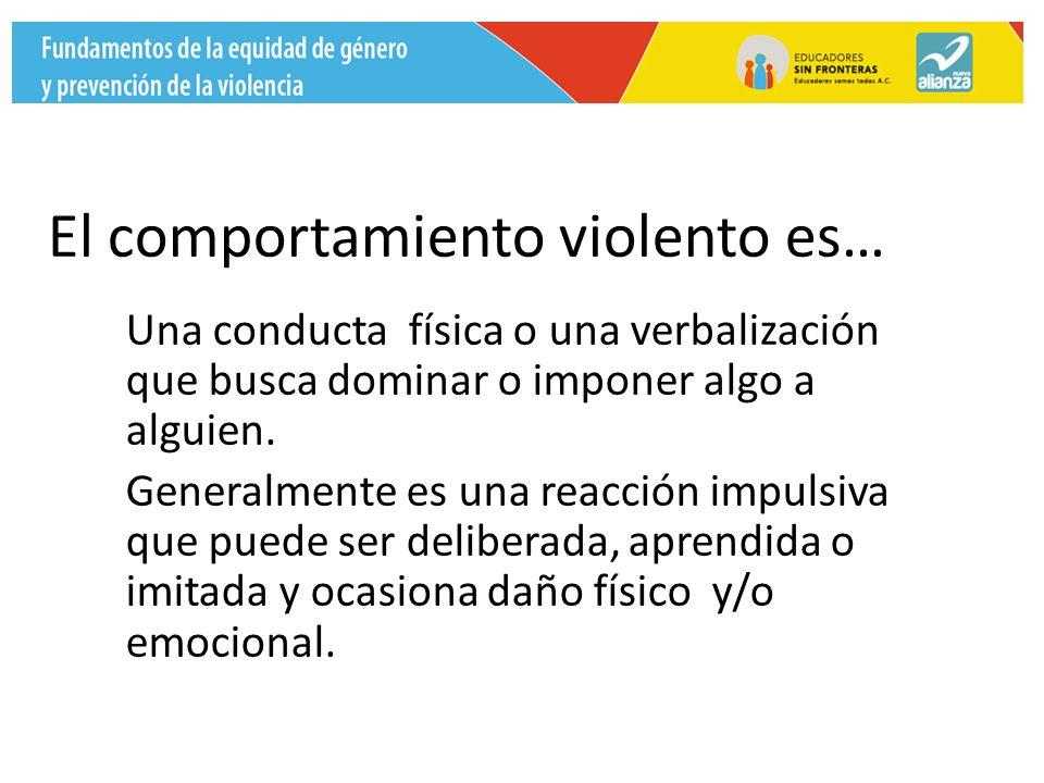 El comportamiento violento es… Una conducta física o una verbalización que busca dominar o imponer algo a alguien.