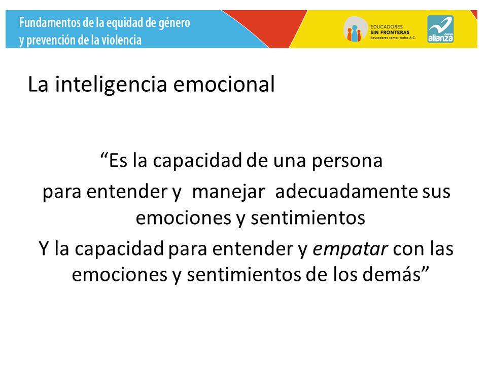 La inteligencia emocional Es la capacidad de una persona para entender y manejar adecuadamente sus emociones y sentimientos Y la capacidad para entender y empatar con las emociones y sentimientos de los demás