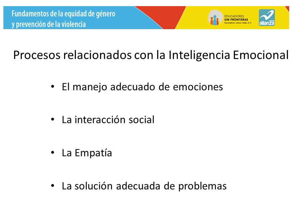 El manejo adecuado de emociones La interacción social La Empatía La solución adecuada de problemas Procesos relacionados con la Inteligencia Emocional