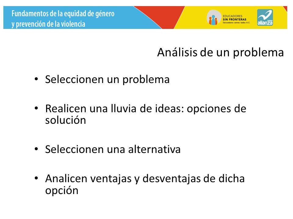 Análisis de un problema Seleccionen un problema Realicen una lluvia de ideas: opciones de solución Seleccionen una alternativa Analicen ventajas y desventajas de dicha opción