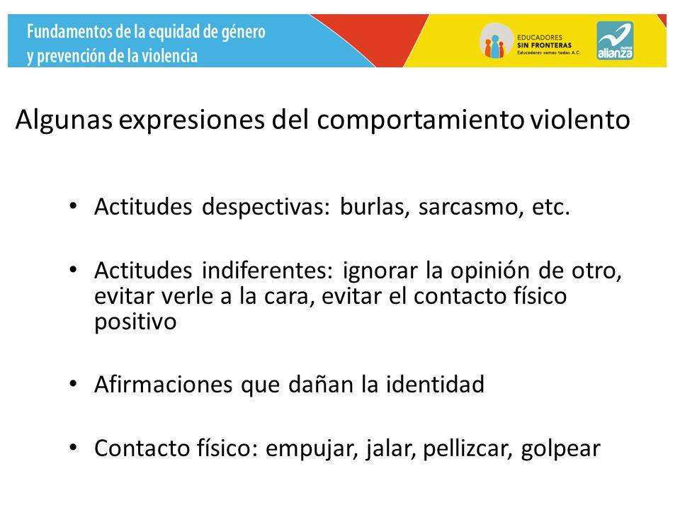 Algunas expresiones del comportamiento violento Actitudes despectivas: burlas, sarcasmo, etc.