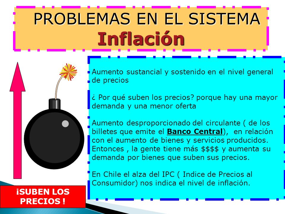 PROBLEMAS EN EL SISTEMA Inflación PROBLEMAS EN EL SISTEMA Inflación Aumento sustancial y sostenido en el nivel general de precios ¿ Por qué suben los