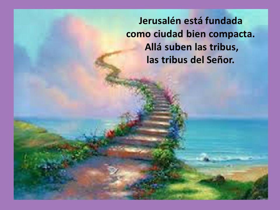 Jerusalén está fundada como ciudad bien compacta. Allá suben las tribus, las tribus del Señor.