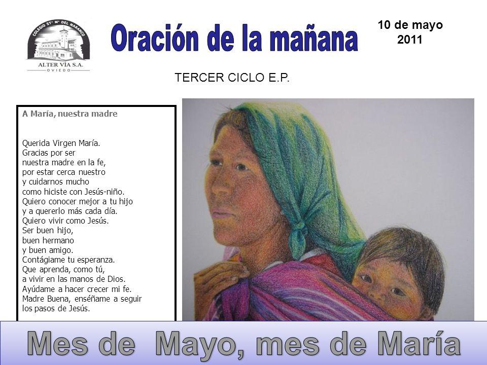A María, nuestra madre Querida Virgen María. Gracias por ser nuestra madre en la fe, por estar cerca nuestro y cuidarnos mucho como hiciste con Jesús-