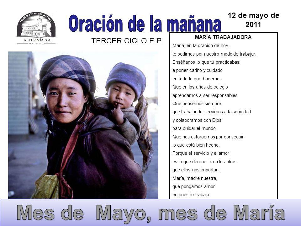 MARÍA AGRADECIDA María, ayúdanos a darnos cuenta de la maravillas que Dios va haciendo en nosotros: la vida, la familia, la educación, los amigos,...