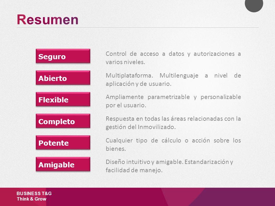 BUSINESS T&G Think & Grow Seguro Control de acceso a datos y autorizaciones a varios niveles. Abierto Multiplataforma. Multilenguaje a nivel de aplica