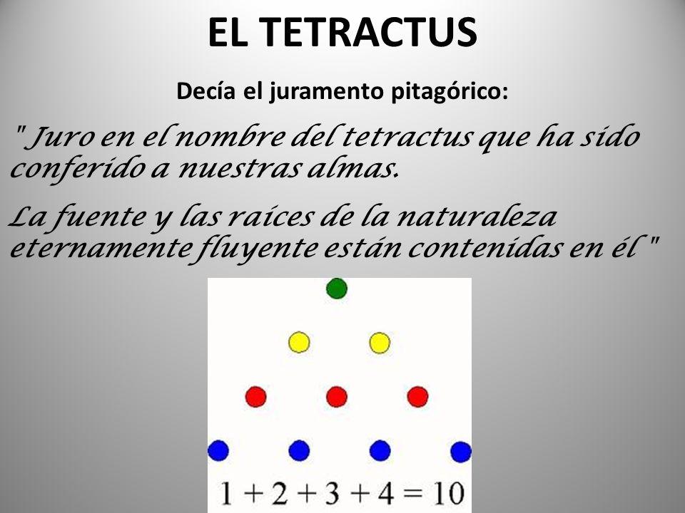 EL TETRACTUS Decía el juramento pitagórico: Juro en el nombre del tetractus que ha sido conferido a nuestras almas.