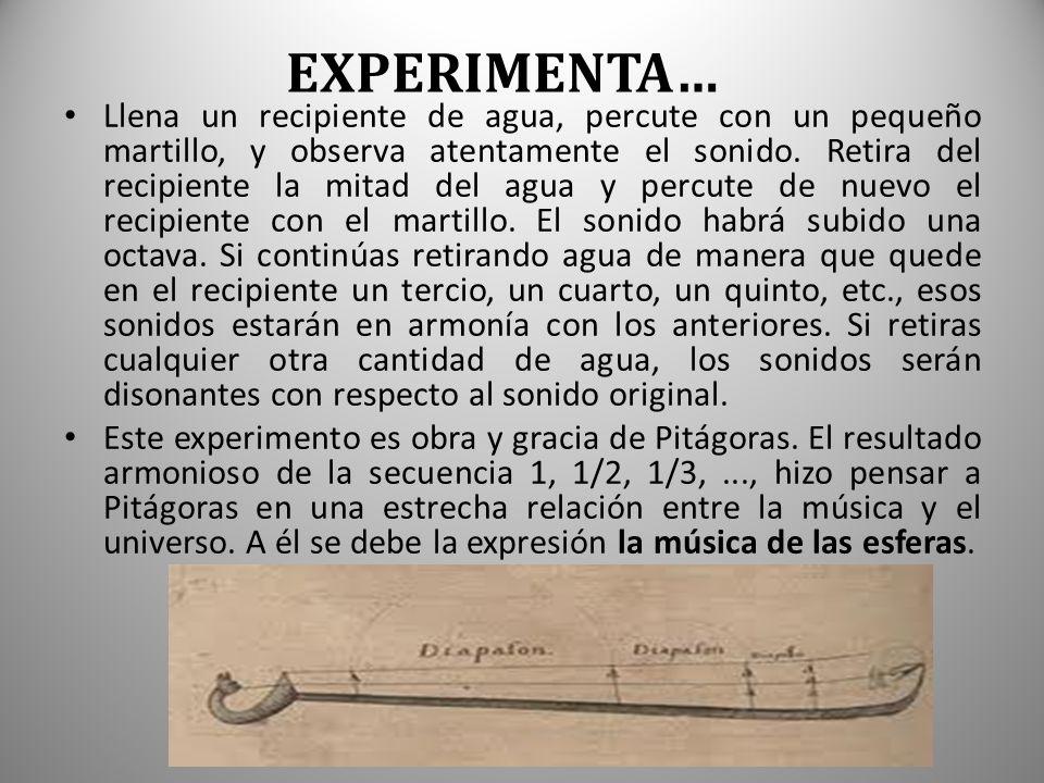 EXPERIMENTA… Llena un recipiente de agua, percute con un pequeño martillo, y observa atentamente el sonido.