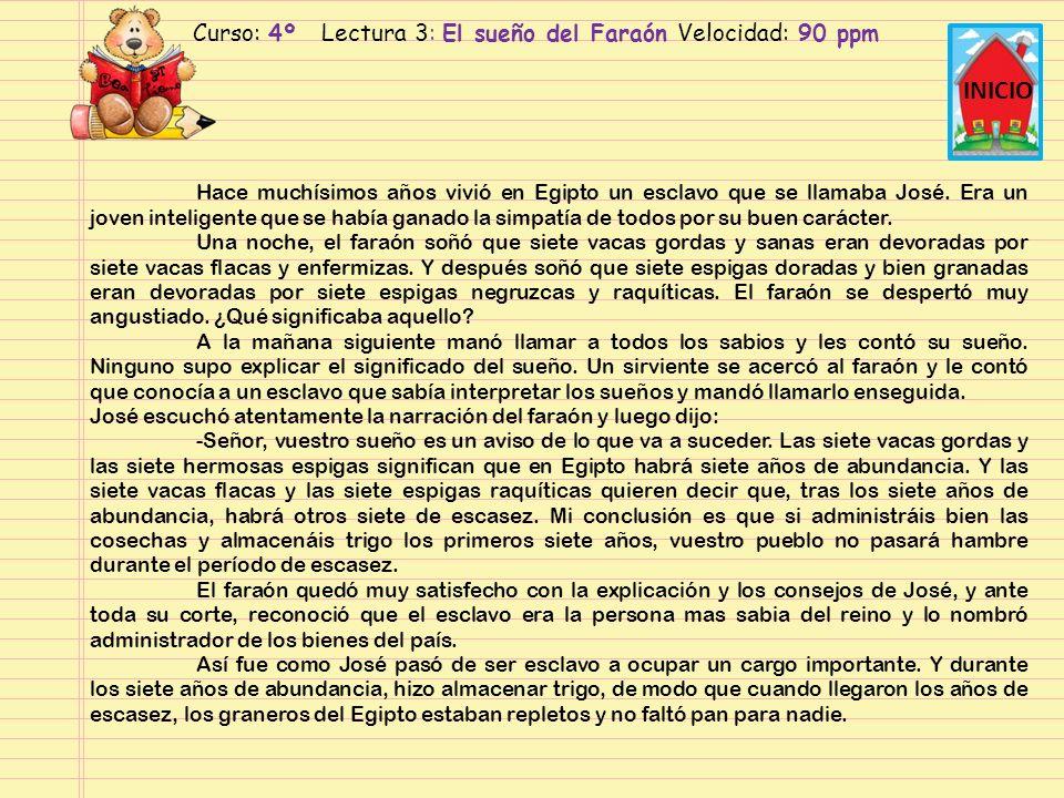 Curso: 4º Lectura 2: El sueño del Faraón Velocidad: 120 ppm INICIO Hace muchísimos años vivió en Egipto un esclavo que se llamaba José.