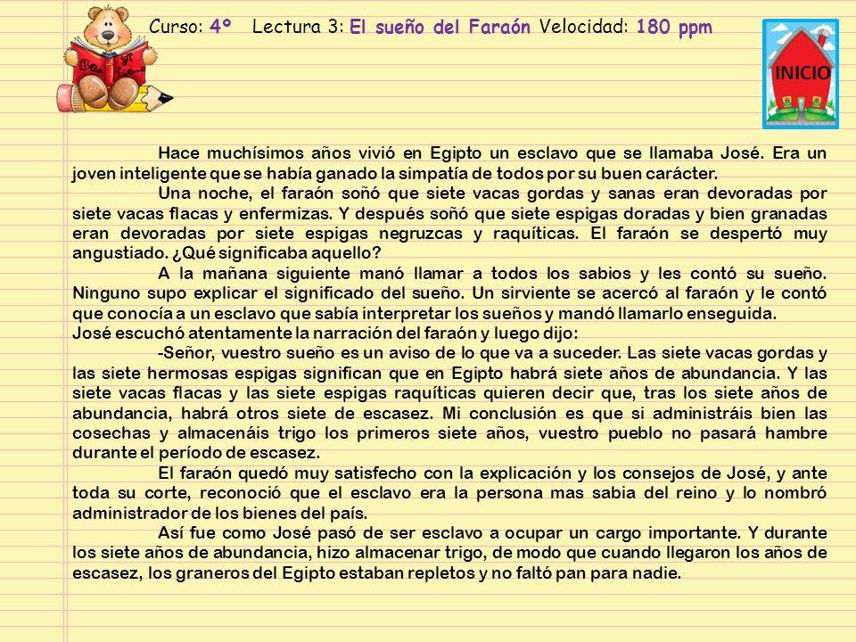 Curso: 4º Lectura 3: El sueño del faraón Velocidad: 210 ppm INICIO Hace muchísimos años vivió en Egipto un esclavo que se llamaba José.