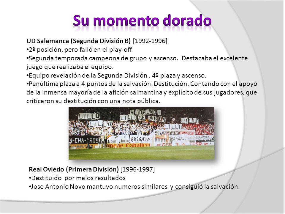 UD Salamanca (Segunda División B) [1992-1996] 2ª posición, pero falló en el play-off Segunda temporada campeona de grupo y ascenso. Destacaba el excel