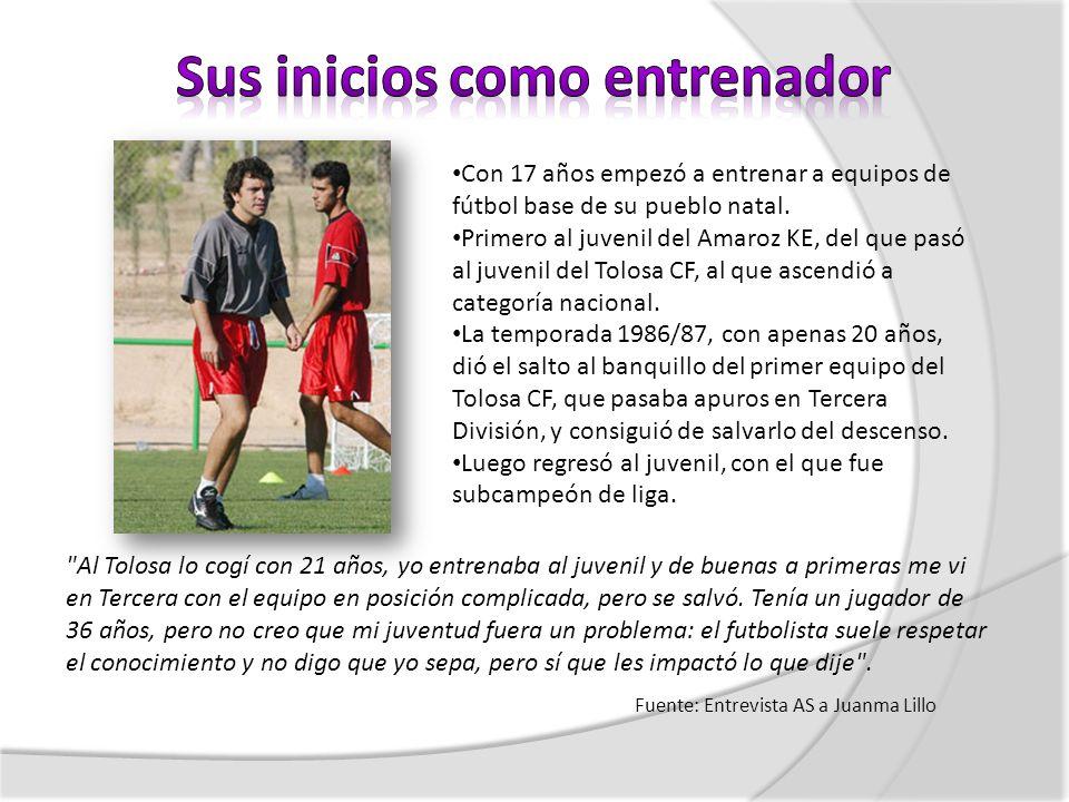 Con 17 años empezó a entrenar a equipos de fútbol base de su pueblo natal. Primero al juvenil del Amaroz KE, del que pasó al juvenil del Tolosa CF, al