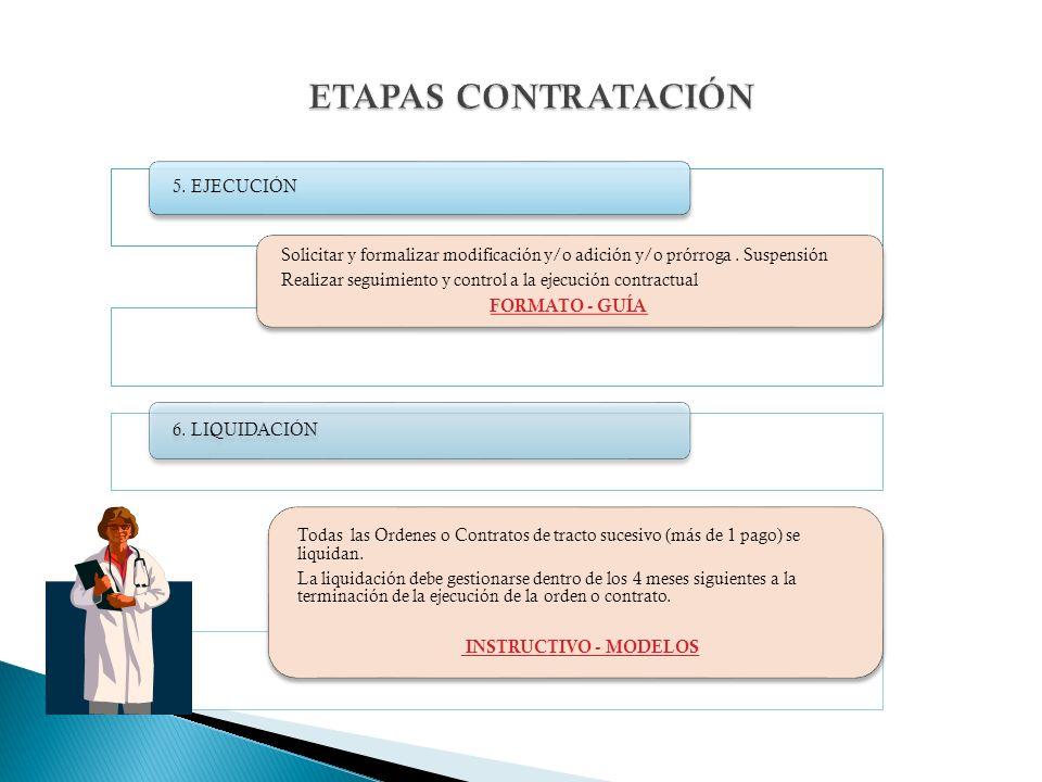 5. EJECUCIÓN Solicitar y formalizar modificación y/o adición y/o prórroga.