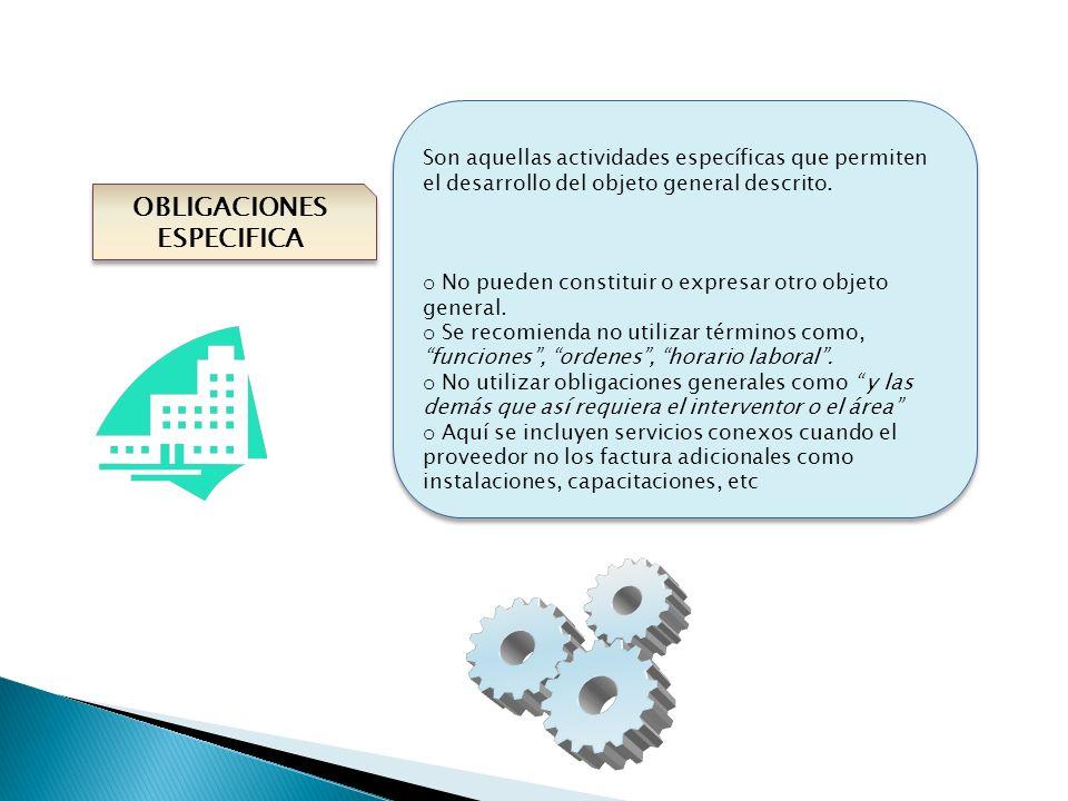 OBLIGACIONES ESPECIFICA Son aquellas actividades específicas que permiten el desarrollo del objeto general descrito. o No pueden constituir o expresar
