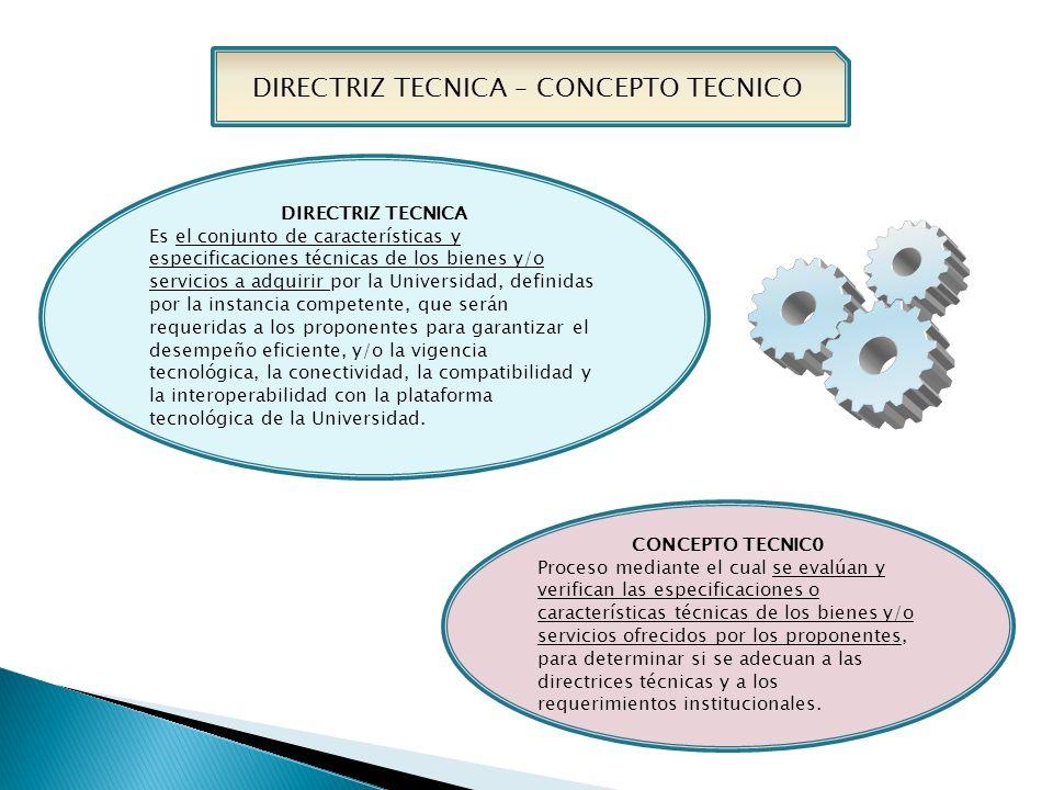 DIRECTRIZ TECNICA Es el conjunto de características y especificaciones técnicas de los bienes y/o servicios a adquirir por la Universidad, definidas por la instancia competente, que serán requeridas a los proponentes para garantizar el desempeño eficiente, y/o la vigencia tecnológica, la conectividad, la compatibilidad y la interoperabilidad con la plataforma tecnológica de la Universidad.