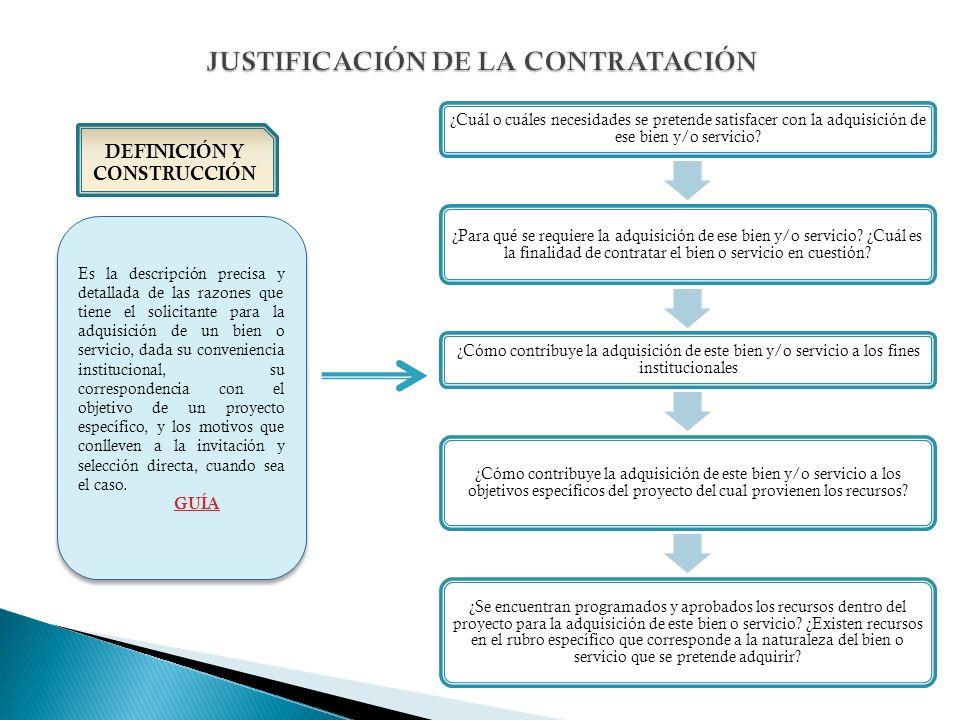 DEFINICIÓN Y CONSTRUCCIÓN Es la descripción precisa y detallada de las razones que tiene el solicitante para la adquisición de un bien o servicio, dad