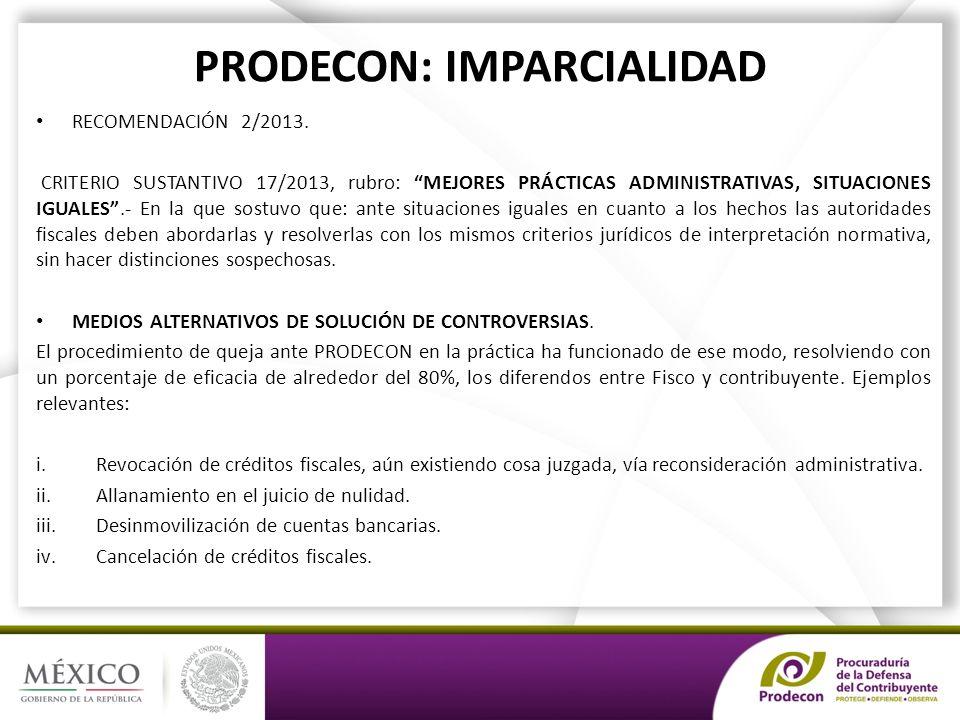 PRODECON: IMPARCIALIDAD RECOMENDACIÓN 2/2013.